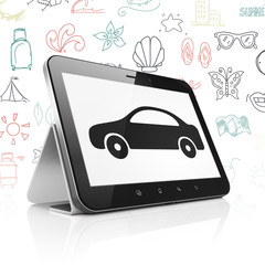 Vacation concept: Tablet Computer with  black Car icon on display,  Hand Drawn Vacation Icons background, 3D rendering