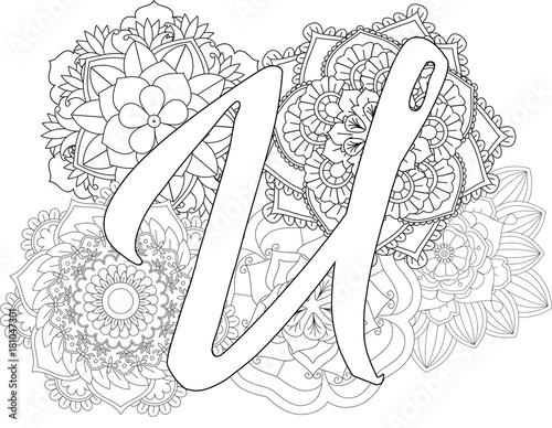 Mandala U Monogramlogo Doodle Floral Letters Coloring Book For Adult