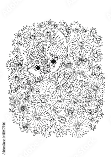 Hand drawn kitty in flowers. Sketch for anti-stress adult coloring ...