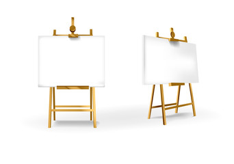 Empty Blank Vector Wooden Brown Easel with Horizontal Canvas for your design