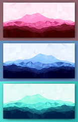 Triangle low poly polygonal mountain range backgrounds set. Vector illustration.