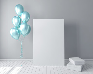 Color balloons with poster mock up 3d rendering