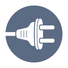 AC power plug round icon.