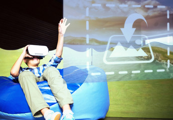 Young VR User Sitting on Bean Bag Chair Mockup