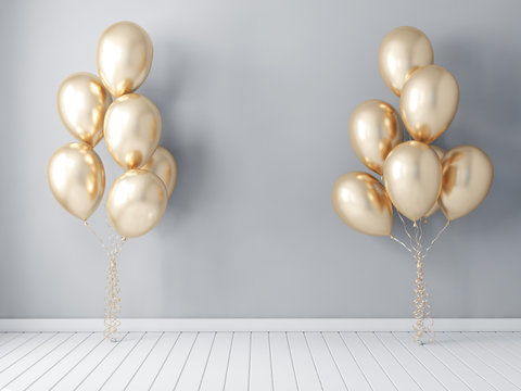 Frame poster mockup with gold balloons, air ballon 3d rendering