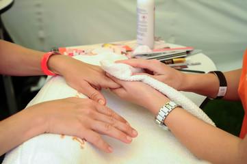 woman nail manicure in salon