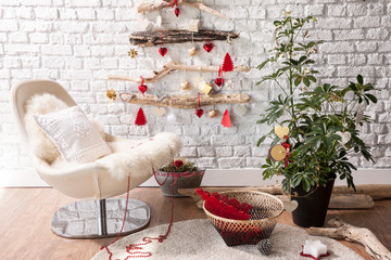 wooden christmas tree concept with home objects