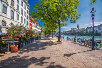 Old city center of Basel with Munster cathedral and the Rhine river, Switzerland, Europe. Basel is a city in northwestern Switzerland on the river Rhine and third-most-populous city. Fototapete