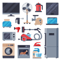 Home appliances domestic household equipment kitchen electrical domestic technology for homework vector illustration.