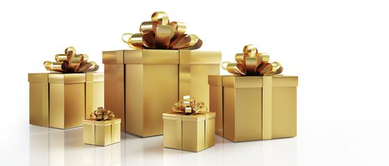 5 Geschenkpäckchen in Gold auf Weiß