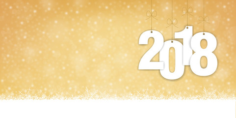 Christmas and New Year 2018 - Wide Snowfall Vector Background