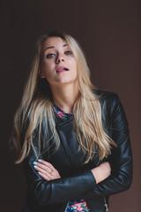 blond girl beautiful black jacket