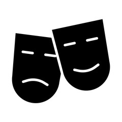 Comedy and tragedy theatre masks silhouette icon. Vector illustration
