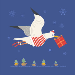 Cute sea gull in Santa dress. Fun colorful cartoon. Playful bird with Christmas gift box, boat with tree. Seabird celebrate winter holiday season. Stylized nautical banner background for new year eve
