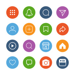 colorful simple social media icon set, vector illustration