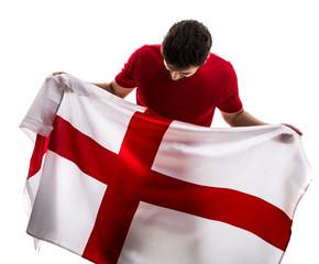 English Fan / Sport Player celebrating on white background