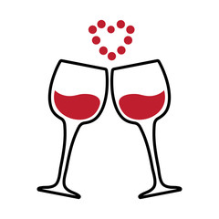 Two glasses of wine and a red heart of dots. Vector illustration