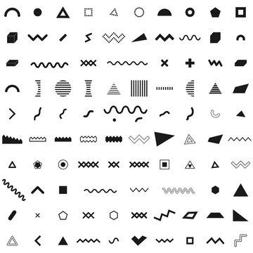 Set of geometric retro memphis style elements