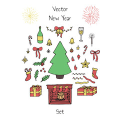 Colorful vector Christmas set with holiday elements: bows, bells, balls, fir tree, stars, mistletoe leaves, fireworks, champagne and fireplace. New Year decoration.