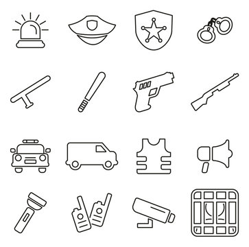 Police Force Icons Thin Line Vector Illustration Set
