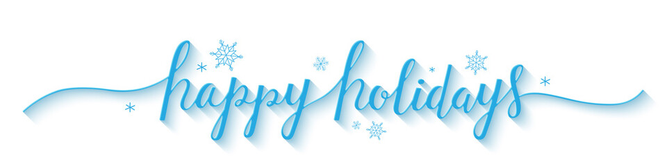 HAPPY HOLIDAYS banner in brush calligraphy with snowflakes