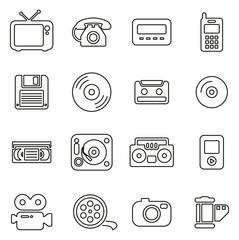Old Technology or Vintage Technology Icons Thin Line Vector Illustration Set