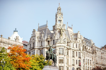 View on the buildings and statue on the Libery square in Porto city, Portugal