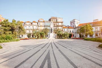 View on the Carlos Alberto square with monument in Porto city, Portugal