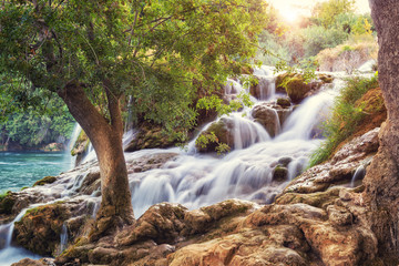 Sunrise in the famous Krka National Park, beautiful landscape with cascade of waterfalls, popular and attractive tourist destination in Croatia