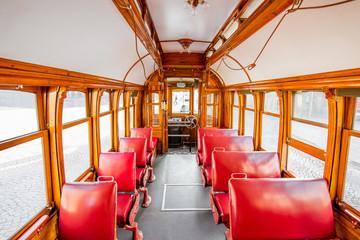 Interior of the famous retro tourist tram in Porto city