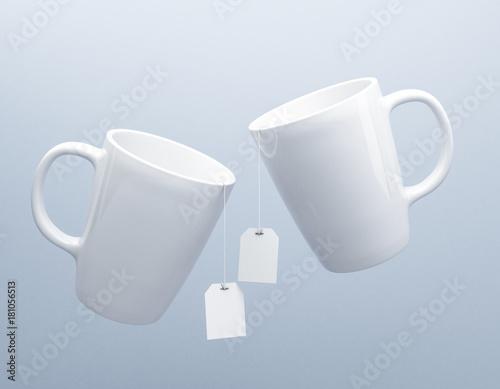 Mug with tea bag label mockup 3d rendering