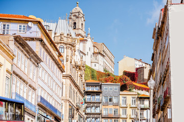 View on the beautiful old building facades on the street in the old town of Porto city, Portugal