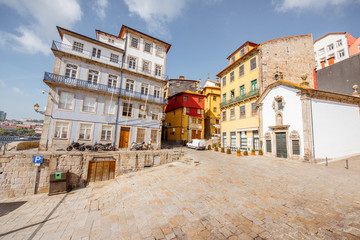 Buildings on the Largo Terreiro square in Porto city, Portugal