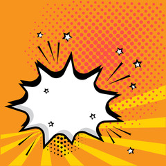White empty speech comic bubble with stars and dots on orange background. Vector illustration in pop art style