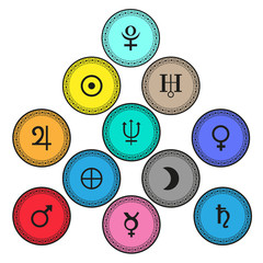 Planet symbols vector illustration