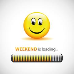 weekend is loading smiley gelb