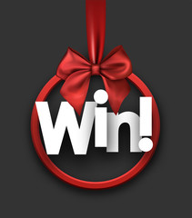 Win festive card with red bow.