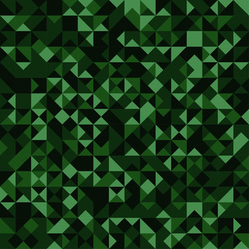 Seamless pattern. Abstract green triangles mosaic camouflage bac
