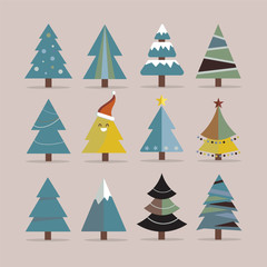 Different Christmas tree set, vector illustration.