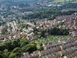 panoramic view of halifx in west yorkshire with terraced streets