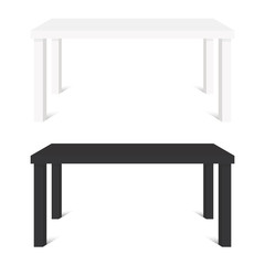 White and black tables isolated on white background vector illustration