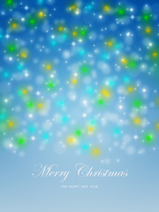 Merry Christmas new year spark star greeting card
