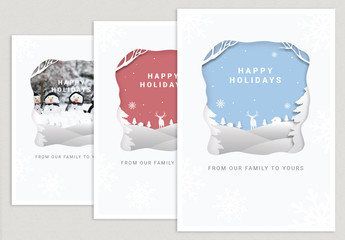 Holiday Paper Cutout Postcard Layout