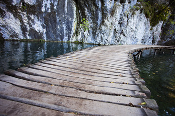 Plitvice lakes, croatian national park, in winter.