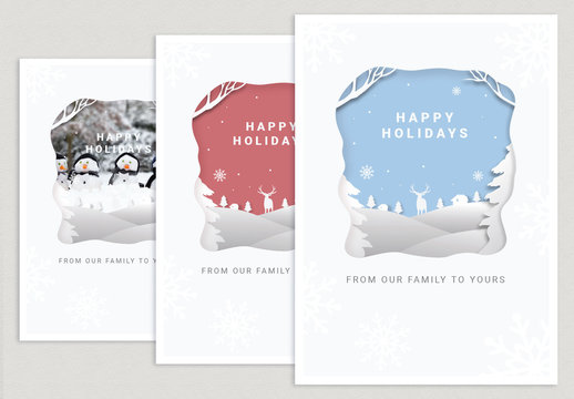 Holiday Paper Cutout Postcard Layout