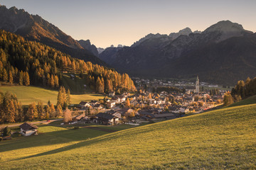 Panoramic view from San Silvestro valley to Dobbiaco, Pusteria valley, South Tyrol, Italy