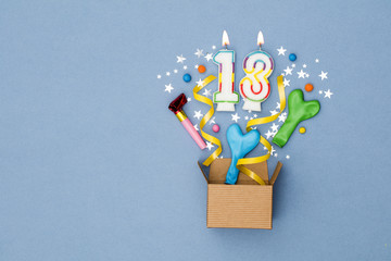 Number 13 celebration present background. Gift box exploding with party decorations