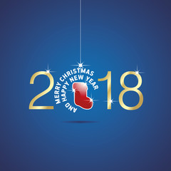 Happy New Year 2018 Christmas ball red stocking blue vector