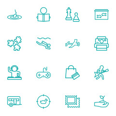 Set Of 16 Hobbie Outline Icons Set.Collection Of Aeromodeling, Photography, Video Game And Other Elements.