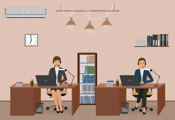 Call center and customer service office with women employee. Workplace interior and helpline operators with headphone.